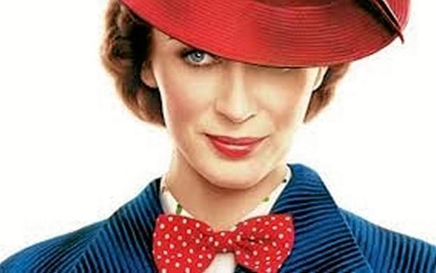 Emily Blunt spiller Mary Poppins i den nyeste film om den perfekte barnepige med helt særlige evner. Der er lagt op til løjer i Disneys fortolkning af den over 50 år gamle musical. Foto: Fjerritslev Kino