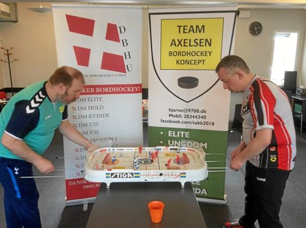 Finalekampen mellem Michael Toft Nielsen og Bjarne Axelsen.Privatfoto