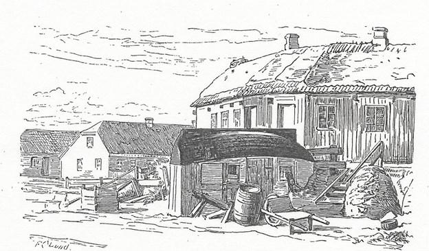 Frederik Christian Lund (1826-1901)s tegning fra Skagen rummer hele bygningshistorien. Det fjælleklædte hus på en knæbakke med tørv og tegl på taget, brønd, bådskur og mødding – og bagved en grundmuret, teglklædt bygning.