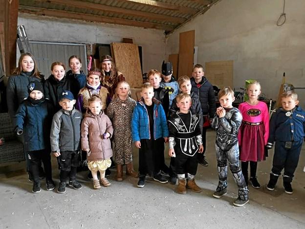 Flere af børnene var udklædt. Privatfoto Ole Iversen