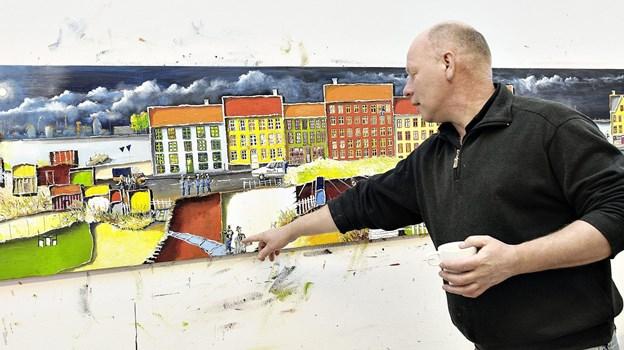 Steen Karlsen skabte i 2013 værket 'Midt om Natten' . Arkvifoto: Peter Broen.