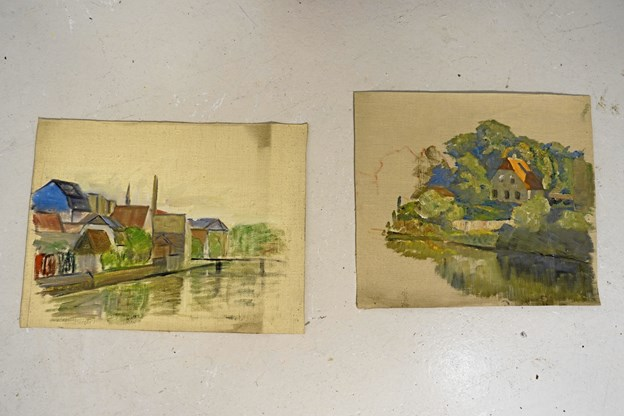 Oliemalede skitser af Johan Rohde.