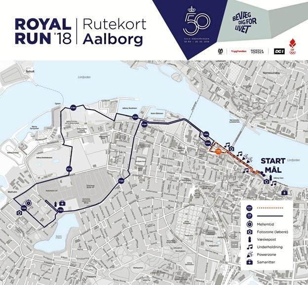 Her er ruterne til Royal Run i Aalborg 2. pinsedag. Den korte går fra Honnørkejen tilObels Kanal og tilbage.