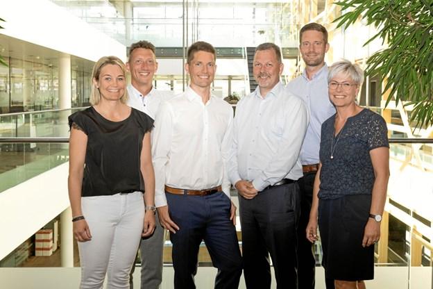 De seks første medarbejdere i den ny Aalborg-afdeling. Privatfoto