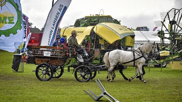 Selv midt i regnbygen var turen med hestevogn populært. Foto: Ole Iversen Ole Iversen