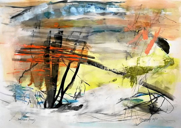 Kirsten Overgaard har malet dette maleri, der indgår i udstillingen.Privatfoto Privatfoto