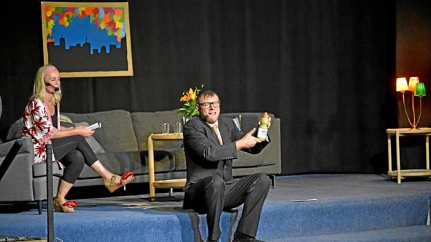 """Den succesrige forretningsmand Bo Krabbe præsenterer sin vidunderdrik """"Shake D'Affal"""" fremstillet af madaffald. Foto: Niels Helver Niels Helver"""