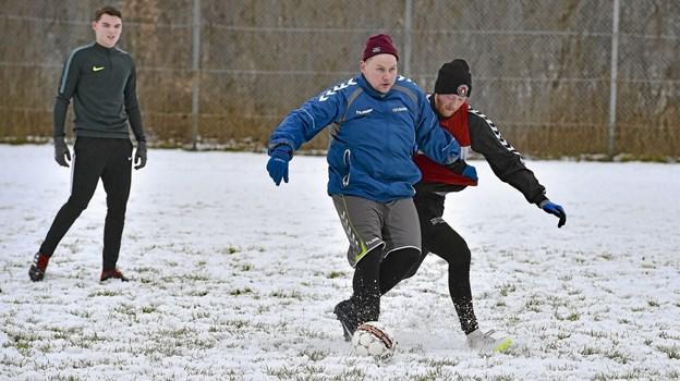 Både serie tre og serie fem spillere trænede med en mix-kamp. Foto: Ole Iversen Ole Iversen