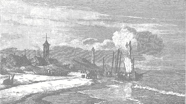 I Carl Neumann (1833-1891)s stik fra 1883 er stranden stadig den store arbejdsplads og de svajryggede huse endnu tækket med strå eller græstørv, selv om tegl på taget fra 18?? var påbudt i købstæderne.
