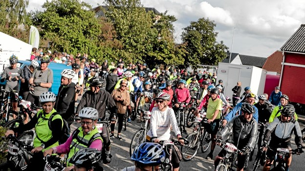 Ruten med HyggeCyklerne havde flest deltagere ved start. Foto: Peter Jørgensen Peter Jørgensen