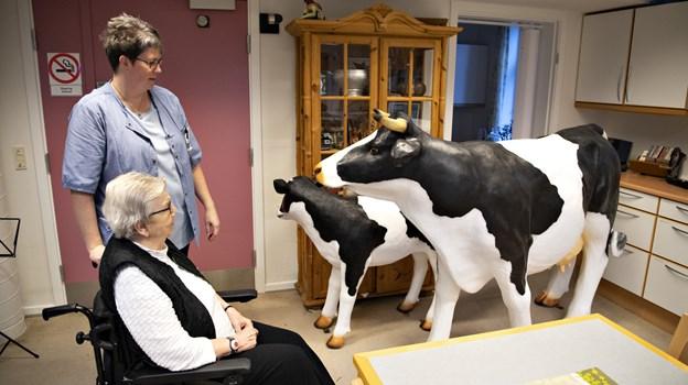 Martha Christensen har været landmandskone i 60 år og er glad for de nye dyr, som hun finder meget livagtige. Foto: Kurt Bering