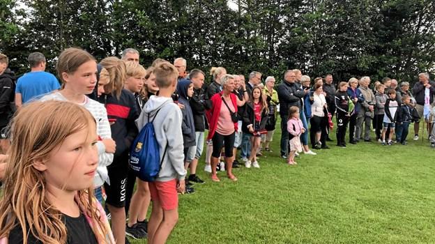 Godt 150 fans fra Arden havde taget turen til Hadsten for at se pigerne i finalen. Foto: Privat Privat
