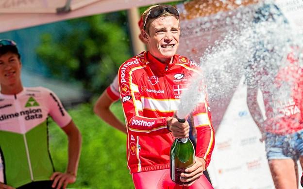 Jonas Vingegaard, Hillerslev, er udtaget til sit første VM. *Her et foto fra et stort italiensk bjergløb Valle d'Aosta i juli, hvor i førertrøjen. Privatfoto