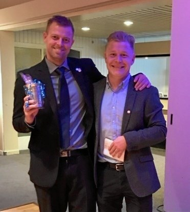Peter Velling 400 kampjubilar og Kasper Hørbye Bach 300 kampe. Foto: Marlene Frandsen.
