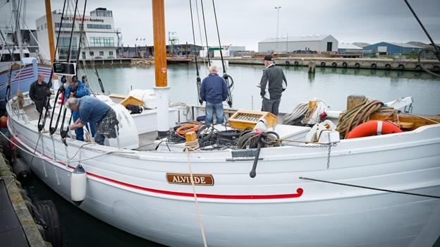 """Der var glæde på """"Alvilde"""", da renoveringen i 2017 var ved at være til ende ... for nu skulle der sejles.Foto: Kim Dahl Hansen"""