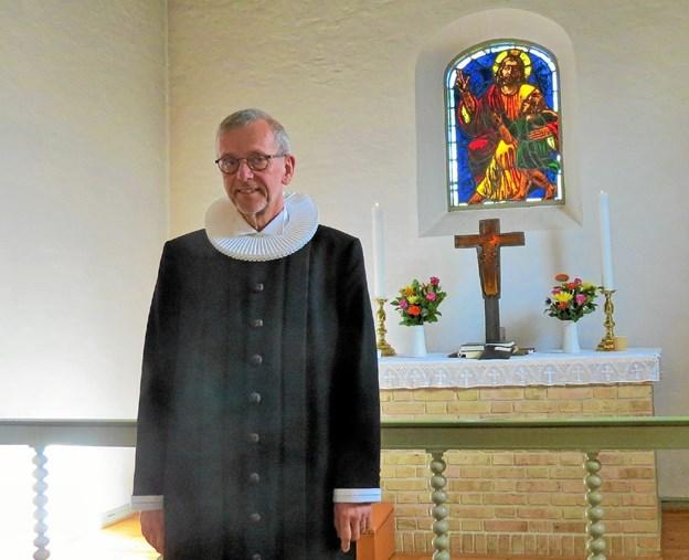 Her klar til gudstjeneste i Børglum kirke. Foto: Kirsten Olsen Kirsten Olsen