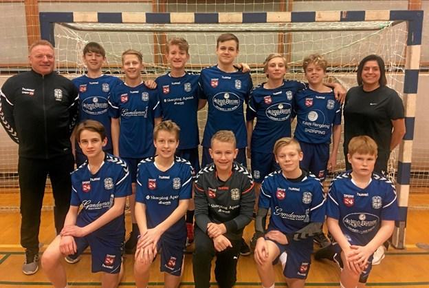 IF Frem Skørpings stærke U14-drenge i de nye trøjer. Foto: Privat Privat