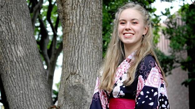 Mie Nymann Jensen i sin yukata til Tanabata - nu er hun på vej hjem efter et vellykket studieophold i Japan. Privatfoto