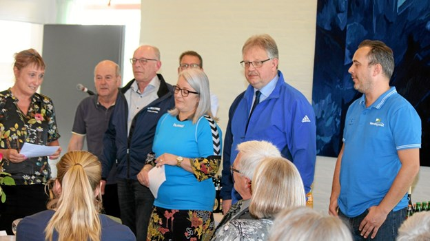 """De blå synger"" - Venstre havde skrevet en sang til Per Halsboe Larsen. Foto: Flemming Dahl Jensen Flemming Dahl Jensen"