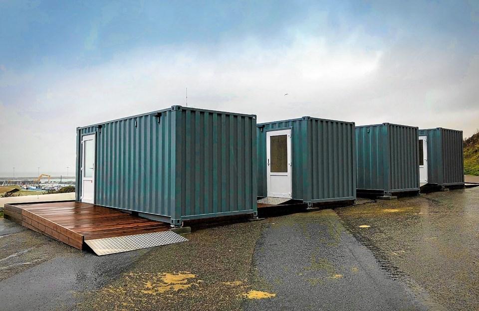 De første af de fire infoboxe er nu klar til åbning. Her vil de besøgende kunne finde information om Hanstholm Havn og den igangværende havneudvidelse. Privatfoto
