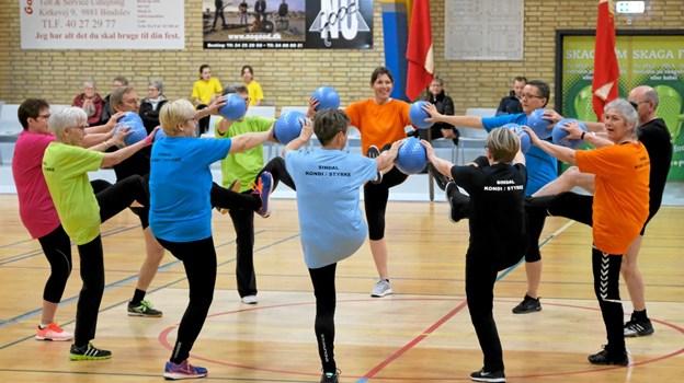 De lidt ældre gymnaster viser, at de stadig har styrke og kondi i behold. Foto: Niels Helver Niels Helver
