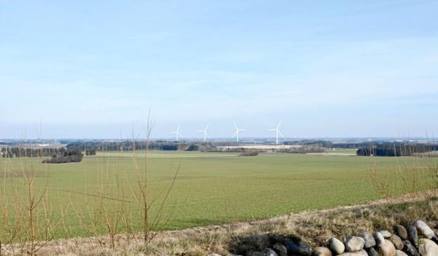 Vialusering af de fire 125 høje møller set fra Børglum Kloster.   Kilde: Hjørring Kommune