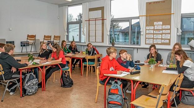Her er der undervisning i en 7-8 klasse på Overlade Frískole. Foto: Mogens Lynge