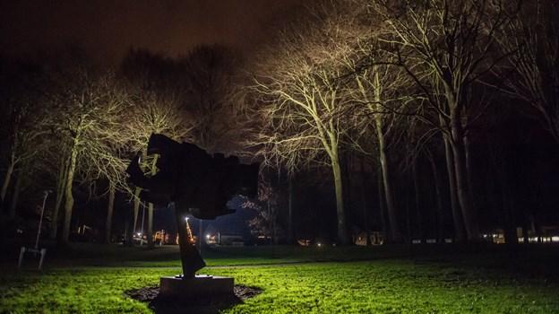 Der er blevet sat nye lysmaster op i Hedelund, og det lyser trækronerne op.Foto: Martin Damgård Martin Damgård