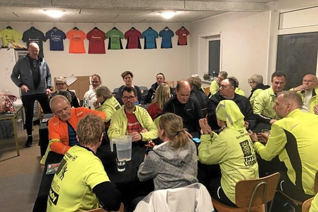 40 var mødt op til årets før løbetur og fejring af Thyholm Løbeklubs 10 års jubilæum.Privatfoto