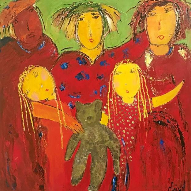 """Birte Clairs maleri """"Sammenhold"""" indgår sammen med en række andre billeder i en særudstilling, som kunstneren har valgt at kalde """"Det kvindelige aspekt"""".  Privatfoto"""