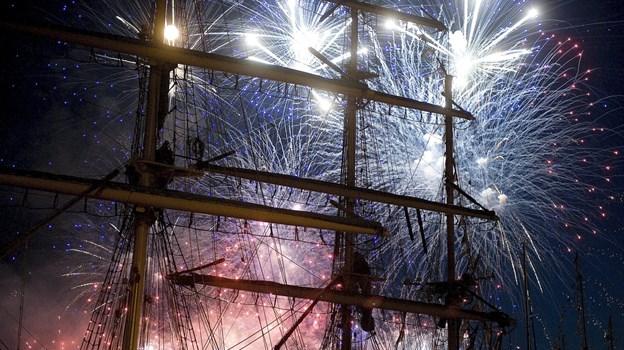 Fyrværkeriet har været enormt ved tidligere års Tall Ships Races - men i år overgår det alt. Arkivfoto: Lars Pauli