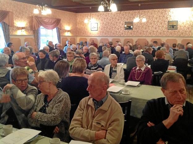 115 medlemmer deltog i generalforsamlingen på Sejlflod Hotel. Privatfoto