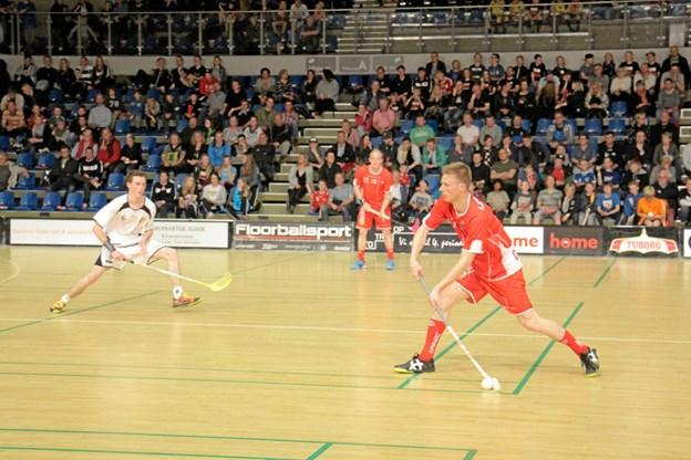 Arkivfoto fra Arena Nord, hvor Danmark i 2015 slog Belgien 7-3 foran 1302 tilskuere.Foto: Floorball Danmark