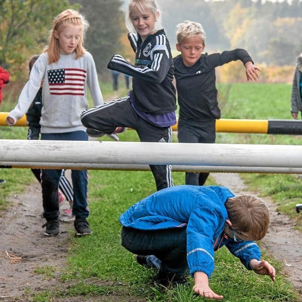 Magnus, Nadja, Nellie, William og Isabella skal hhv. over og under bommene. Foto: Niels Helver