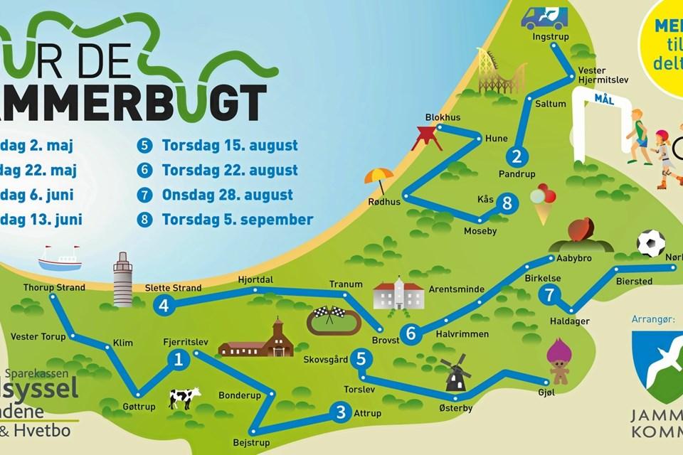 Etaperne for Tour de Jammerbugt. Grafik: Jammerbugt Kommune