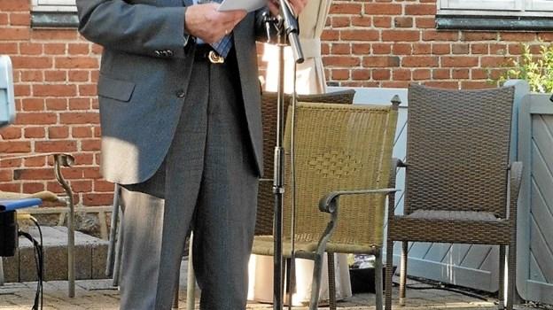 Christian Mejdahl holdt en tankevækkende grundlovstale. Privatfoto