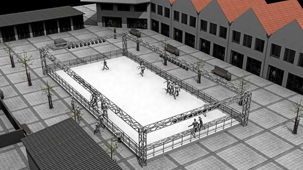 Til november kan der løbes på skøjter på Torvet i Blokhus. Illustration: Destination Blokhus