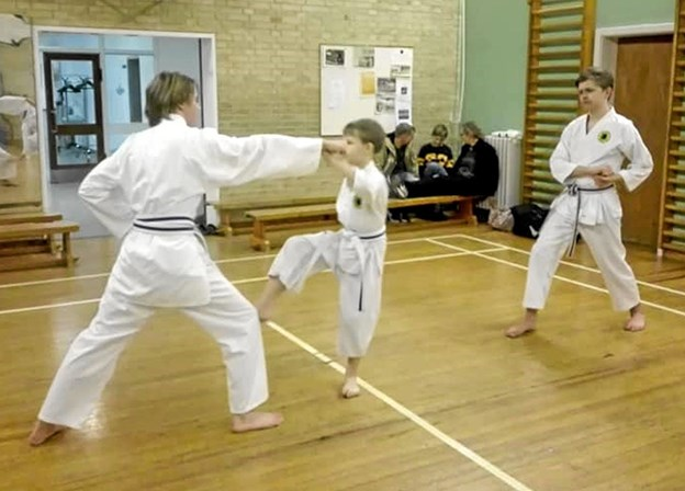 Rasmus, Malthe og Nicolaj udfører ippon kumite (1 skridts arrangeret kamp). Privatfoto Henrik Vandrup