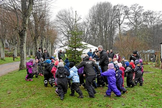 Og dansen gik - alle børnehavebørnene var eksede med juletræsdansen. Foto: Herluf Johansen