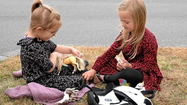 Det nyindkøbte legetøj tages straks i brug. Foto: Niels Helver Niels Helver