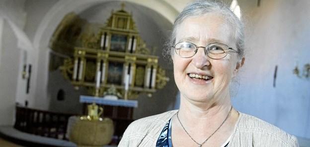 Kirsten Munkholt holder foredrag til Seniortræf ved Brovst Baptist Kirke. Privatfoto
