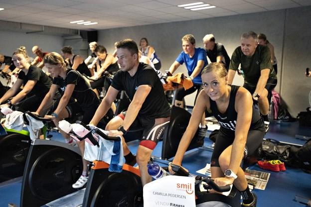 Lørdag blev der trampet i pedalerne til fordel for SMILfonden.Foto: Kurt Bering