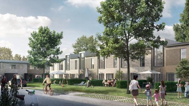 Sådan kan en boligvej mellem rækkehusene komme til at se ud. Illustration: Aalborg Kommune