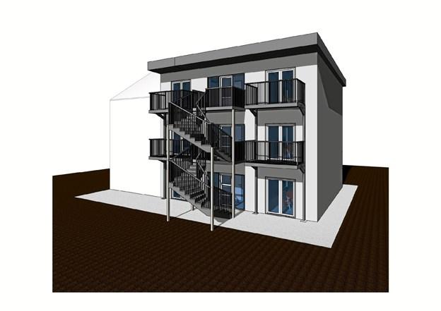 Sådan kommer den nye bygning til at tage sig ud. Grafik: Hassing-Huset Aps Ole Iversen