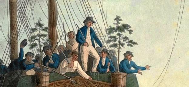 """Mytteristerne smed kaptajn Bligh og en del af hans officerer ud i en lille robåd fra """"Bounty"""" Engelsk tegning fra 1790."""