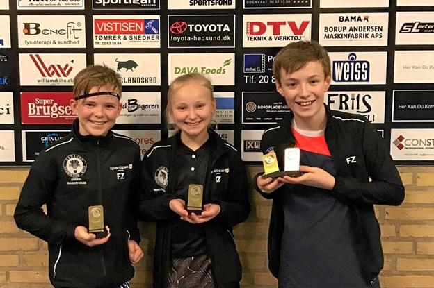 De tre deltagere fra Hadsund Badminton Klubs ungdomsafdeling. Foto: Michael Søndergaard.