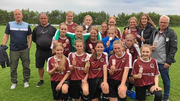 Det sammenbragte hold af U 15 spillere fra Arden, Valsgaard og Hobro nåede blandt de fire bedste hold i Jylland. Privatfoto