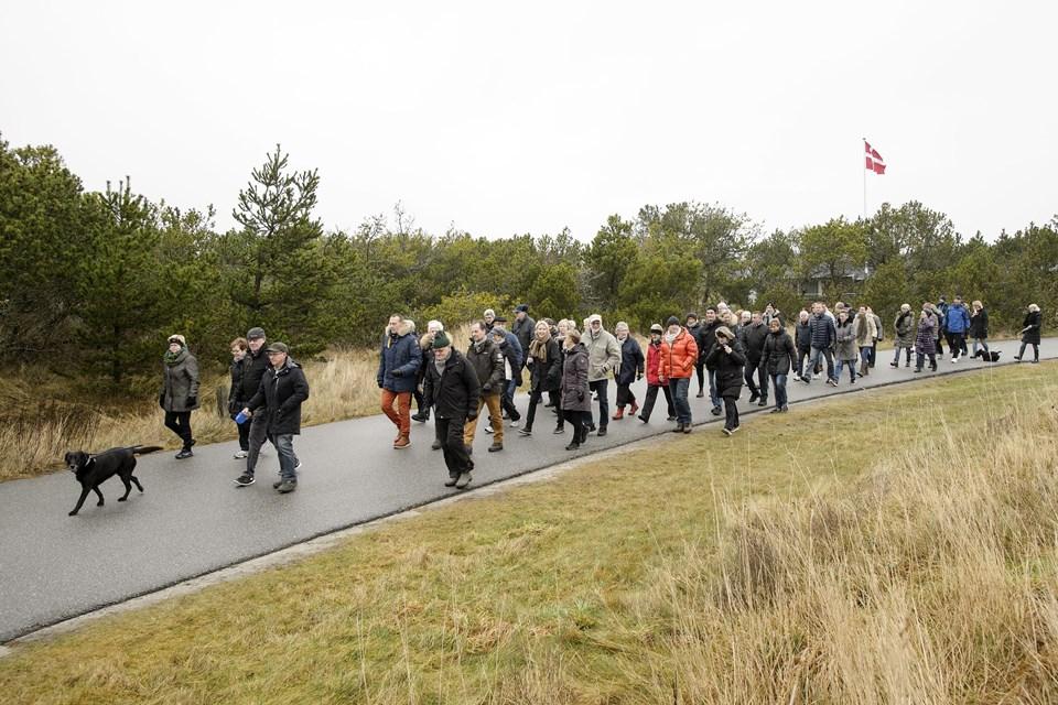 Deltagerne i nytårsmarchen i Skagen kunne vælge mellem en 7,8 og en 5 km rute i Skagen Klitplantage.
