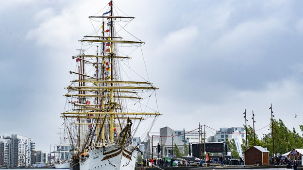 Sejlskibet Sørlandet ligger til kaj ved Aalborg Havnefront i anledning af The Tall Ships Races. Foto: Lasse Sand