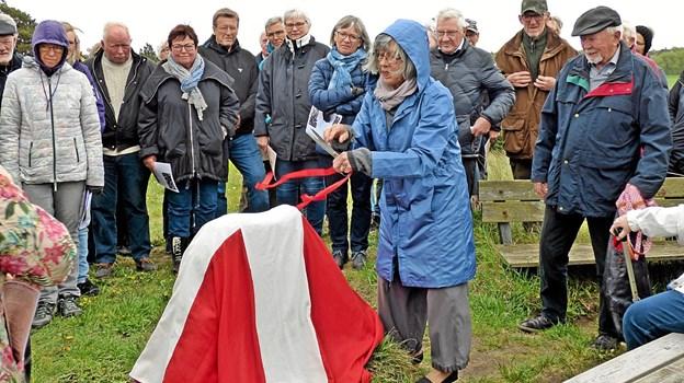 Ingeborg Welling har klippet båndet, der har holdt Dannebrog omkring mindestenen. Foto: Ejlif Rasmussen Ejlif Rasmussen